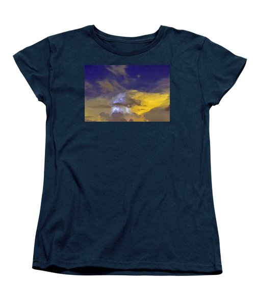 Women's T-Shirt (Standard Cut) featuring the photograph Stormy Stormy Night by Charlotte Schafer