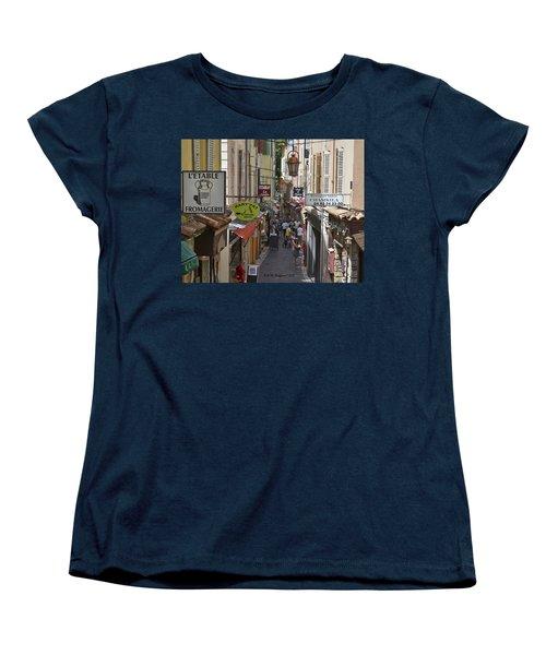 Women's T-Shirt (Standard Cut) featuring the photograph Street Scene In Antibes by Allen Sheffield