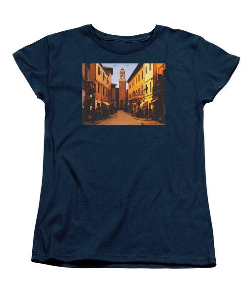 Women's T-Shirt (Standard Cut) featuring the painting Street Scene by Sophia Schmierer
