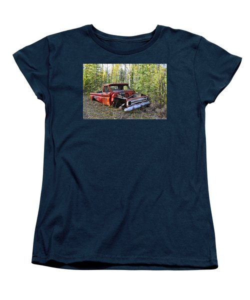 Women's T-Shirt (Standard Cut) featuring the photograph Stripped Chevy by Cathy Mahnke