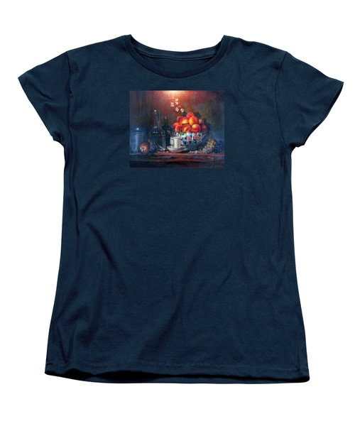 Women's T-Shirt (Standard Cut) featuring the painting Study Of Peaches by Donna Tucker
