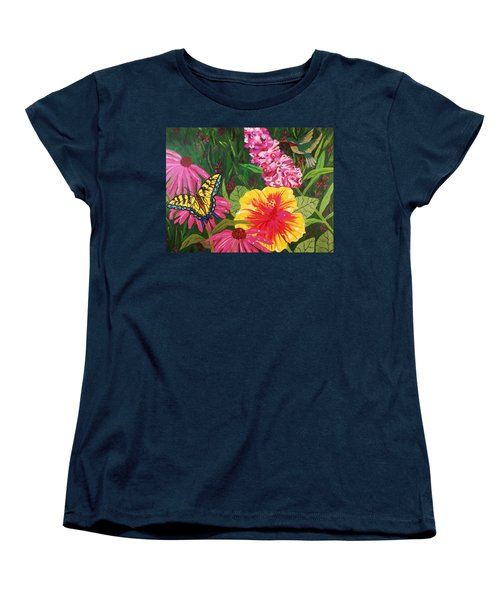 Women's T-Shirt (Standard Cut) featuring the painting Summer Garden by Ellen Levinson