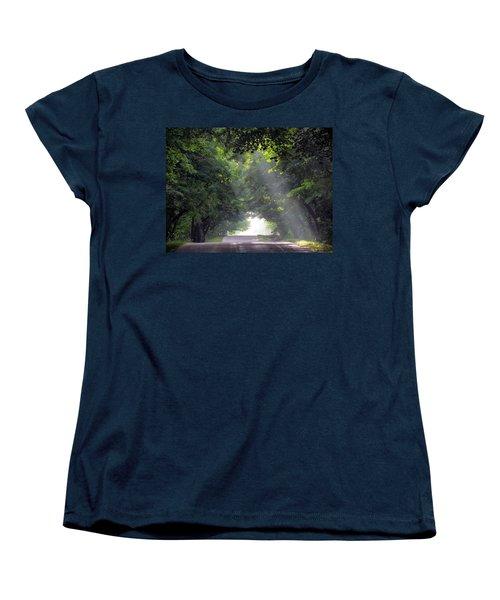 Sun Rays On Waters End Road Women's T-Shirt (Standard Cut) by David T Wilkinson