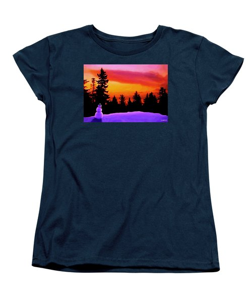 Women's T-Shirt (Standard Cut) featuring the painting Sun Setting On Snow by Sophia Schmierer