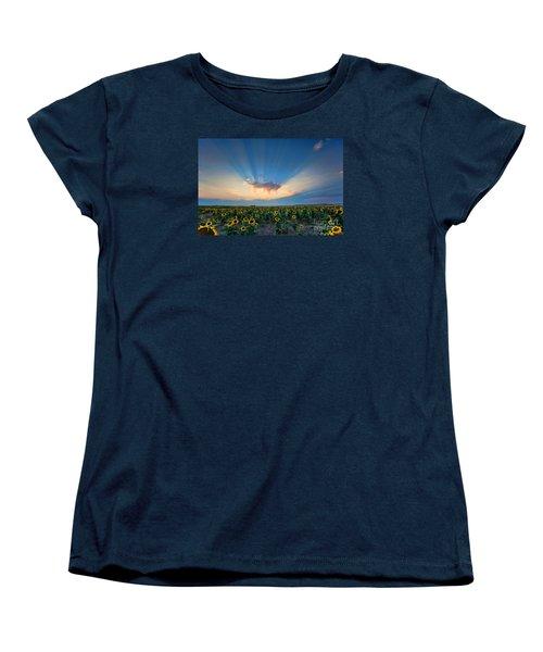 Sunflower Field At Sunset Women's T-Shirt (Standard Cut) by Jim Garrison