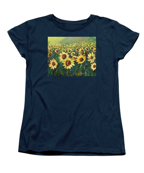 Women's T-Shirt (Standard Cut) featuring the painting Sunflower Field by Dorothy Maier