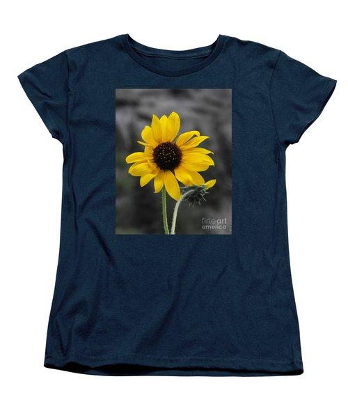 Sunflower On Gray Women's T-Shirt (Standard Cut) by Rebecca Margraf