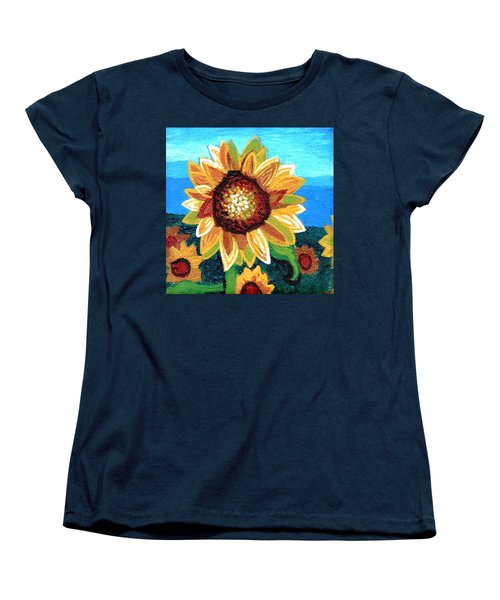 Sunflowers And Blue Sky Women's T-Shirt (Standard Cut) by Genevieve Esson
