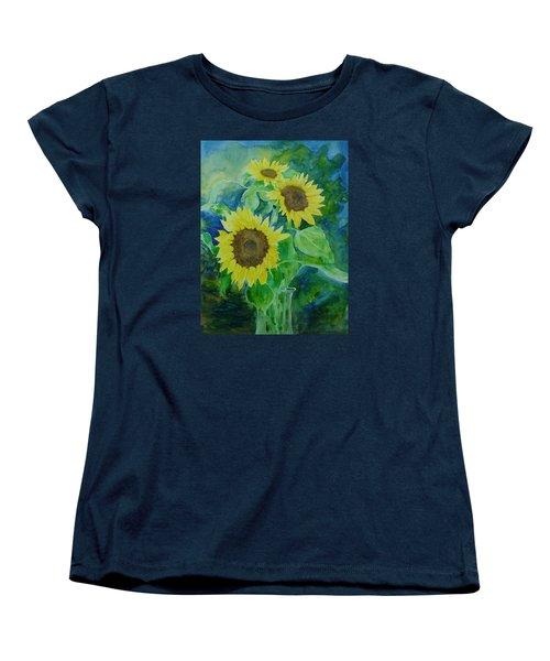 Sunflowers Colorful Sunflower Art Of Original Watercolor Women's T-Shirt (Standard Cut) by Elizabeth Sawyer