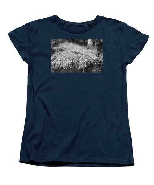 Women's T-Shirt (Standard Cut) featuring the photograph Sunny Gator Black And White by Joseph Baril