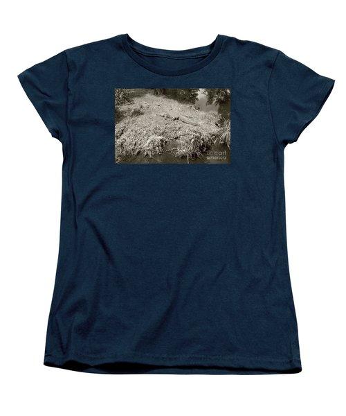 Women's T-Shirt (Standard Cut) featuring the photograph Sunny Gator Sepia  by Joseph Baril