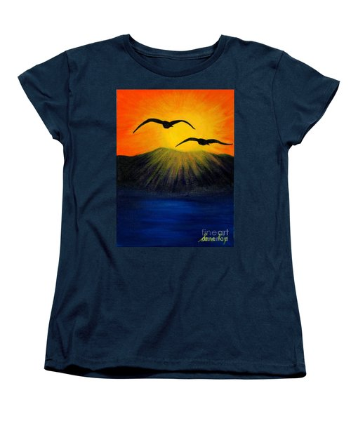 Women's T-Shirt (Standard Cut) featuring the painting Sunrise And Two Seagulls by Oksana Semenchenko