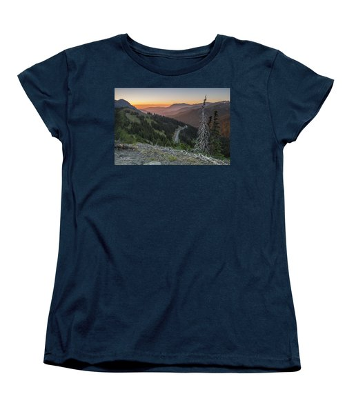 Sunrise At Hurricane Ridge - Sunrise Peak Women's T-Shirt (Standard Cut) by Charlie Duncan