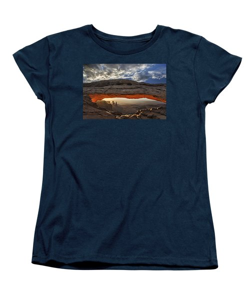 Women's T-Shirt (Standard Cut) featuring the photograph Sunrise At Mesa Arch by Roman Kurywczak
