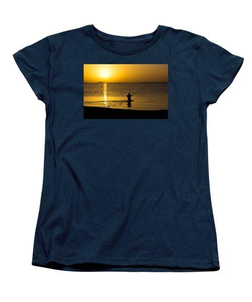 Sunrise Fishing Women's T-Shirt (Standard Cut) by Scott Carruthers