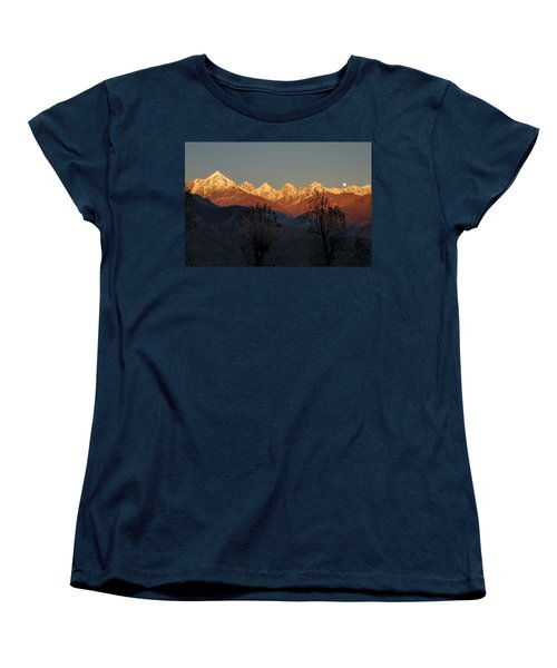 Sunset And Moonrise. The Rendezvous. Women's T-Shirt (Standard Cut) by Fotosas Photography