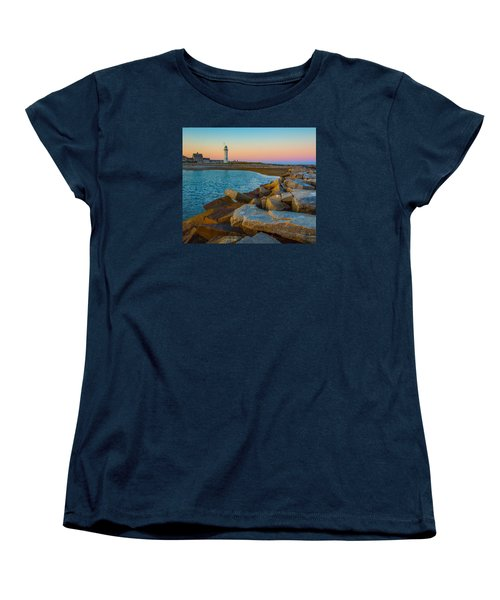 Sunset At Old Scituate Lighthouse Women's T-Shirt (Standard Cut) by Brian MacLean