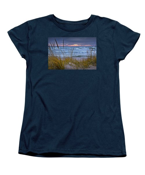 Sunset On The Beach At Lake Michigan With Dune Grass Women's T-Shirt (Standard Cut) by Randall Nyhof