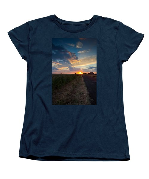 Sunset Down A Country Road Women's T-Shirt (Standard Cut) by Mark Alder