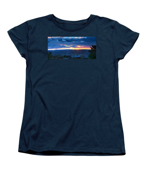 Sunset In Ithaca New York Panoramic Photography Women's T-Shirt (Standard Cut) by Paul Ge