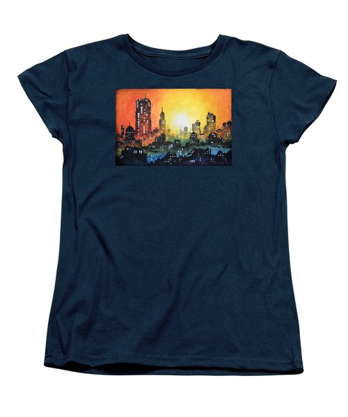 Women's T-Shirt (Standard Cut) featuring the painting Sunset In The City by Amy Giacomelli