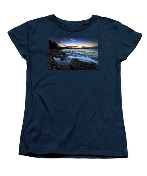Women's T-Shirt (Standard Cut) featuring the photograph Sunset On Ber Beach Galicia Spain by Pablo Avanzini