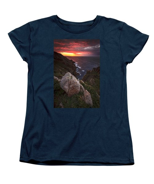 Women's T-Shirt (Standard Cut) featuring the photograph Sunset On Cape Prior Galicia Spain by Pablo Avanzini