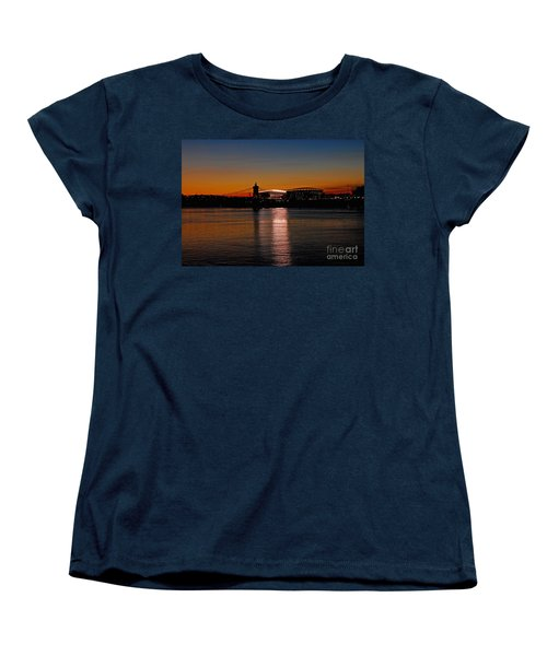 Women's T-Shirt (Standard Cut) featuring the photograph Sunset On Paul Brown Stadium by Mary Carol Story