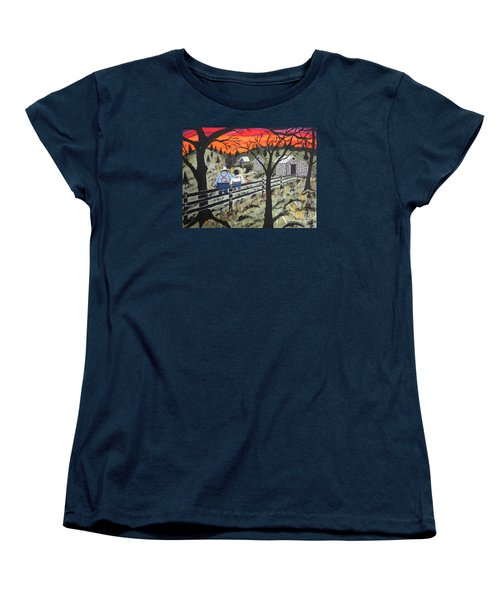 Sunset On The Fence Women's T-Shirt (Standard Cut) by Jeffrey Koss