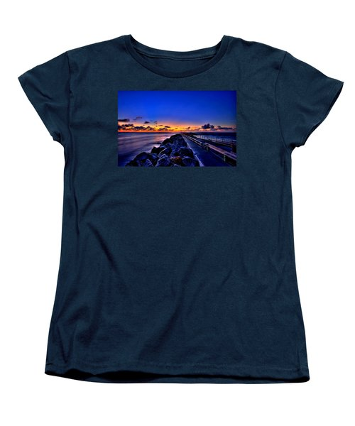 Women's T-Shirt (Standard Cut) featuring the painting Sunrise On The Pier by Bruce Nutting