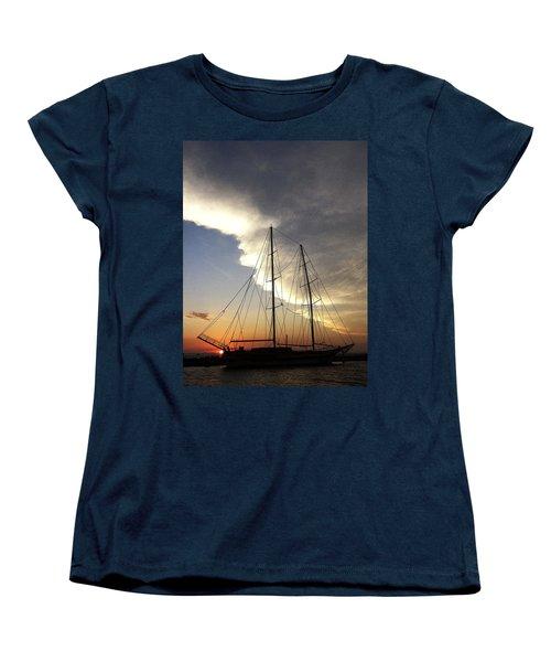 Sunset On The Turkish Gulet Women's T-Shirt (Standard Cut) by Anne Mott