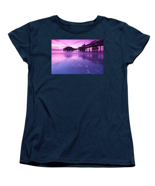Sunset Over The Pier Women's T-Shirt (Standard Cut) by Mihai Andritoiu