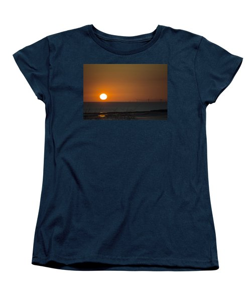 Sunset Over The Windfarm Women's T-Shirt (Standard Cut) by Spikey Mouse Photography