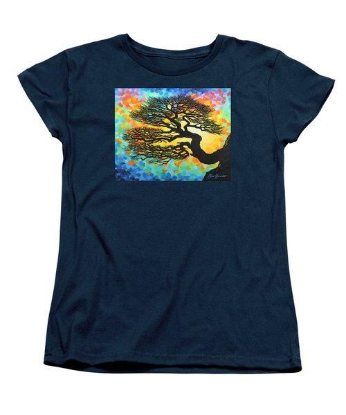 Women's T-Shirt (Standard Cut) featuring the painting Sunset Pine by Jane Girardot