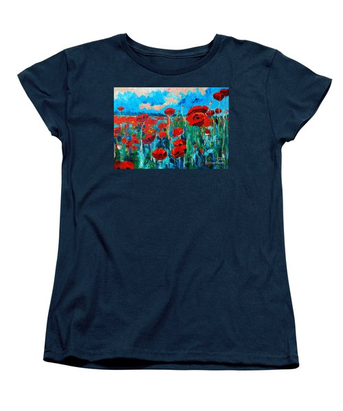 Women's T-Shirt (Standard Cut) featuring the painting Sunset Poppies by Ana Maria Edulescu