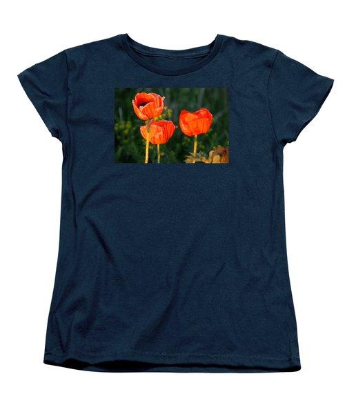 Women's T-Shirt (Standard Cut) featuring the photograph Sunset Poppies by Debbie Oppermann