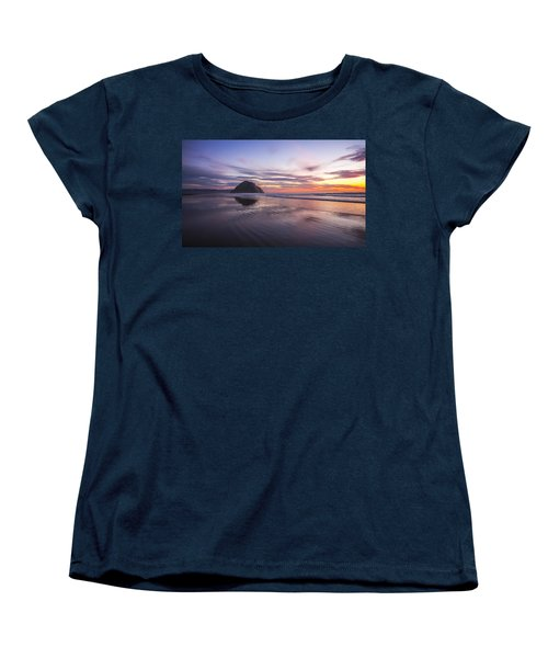Sunset Reflections At Morro Bay Beach Rock Fine Art Photography Print Women's T-Shirt (Standard Cut) by Jerry Cowart