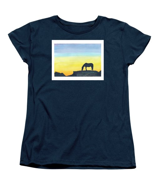 Women's T-Shirt (Standard Cut) featuring the painting Sunset Silhouette by C Sitton