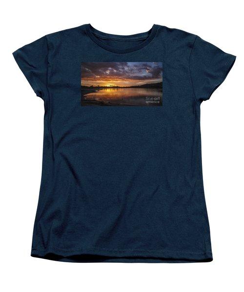 Sunset With Clouds Over Malibu Beach Lagoon Estuary Women's T-Shirt (Standard Cut) by Jerry Cowart