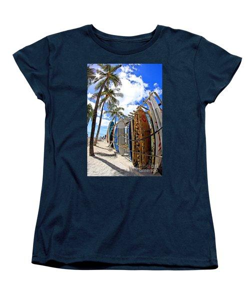 Surf And Sun Waikiki Women's T-Shirt (Standard Cut) by DJ Florek