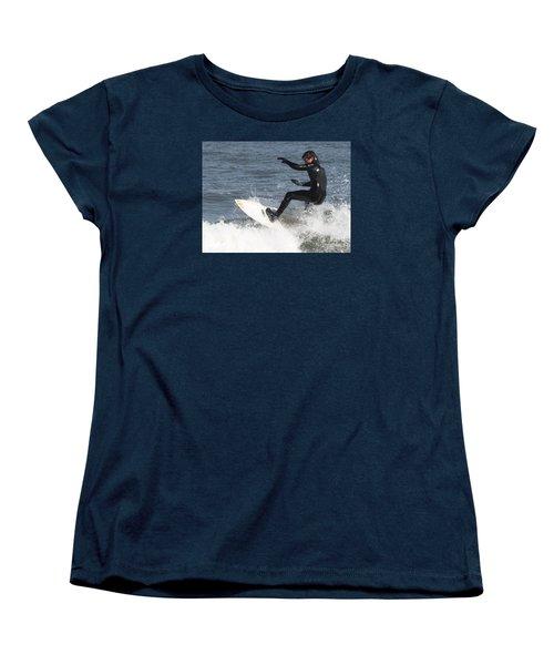 Women's T-Shirt (Standard Cut) featuring the photograph Surfer On White Water by John Telfer
