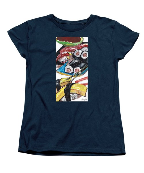 Women's T-Shirt (Standard Cut) featuring the painting Sushi Bar Painting by Ecinja Art Works