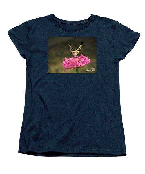 Swallowtail On A Zinnia Women's T-Shirt (Standard Cut) by Debby Pueschel