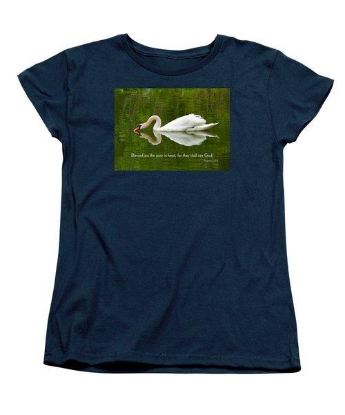 Swan Heart Bible Verse Greeting Card Original Fine Art Photograph Print As A Gift Women's T-Shirt (Standard Cut) by Jerry Cowart
