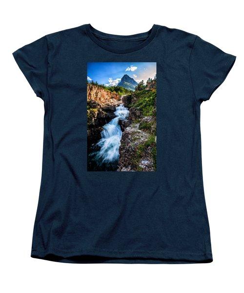 Swiftcurrent Falls Women's T-Shirt (Standard Cut) by Aaron Aldrich