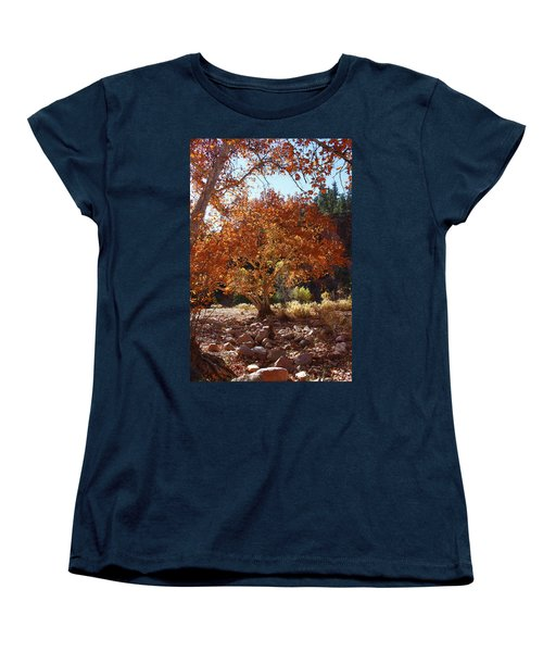 Sycamore Trees Fall Colors Women's T-Shirt (Standard Cut) by Tom Janca