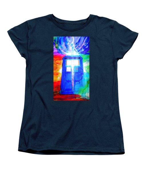 Tardis Women's T-Shirt (Standard Cut) by Justin Moore