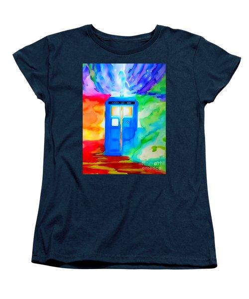 Tardis Watercolor Edition Women's T-Shirt (Standard Cut) by Justin Moore