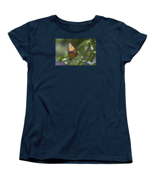 Tawny Emperor On Hibiscus Women's T-Shirt (Standard Cut) by Shelly Gunderson