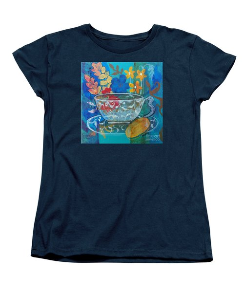 Women's T-Shirt (Standard Cut) featuring the painting Tea With Biscuit by Robin Maria Pedrero